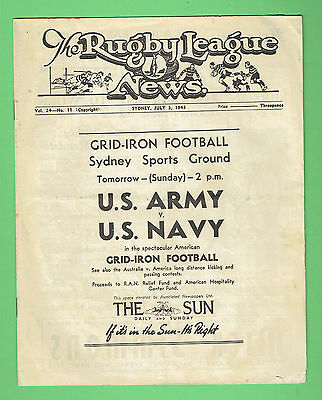 #TT. RUGBY LEAGUE NEWS - US ARMY V NAVY GRIDIRON FRONT COVER, 3rd July 1943