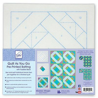 June Tailor Polyester Quilt As You Go Printed Blocks on Batting-Mosaic Magic