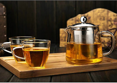 Heat Resistant Stylish Glass Tea Pot Cup / Strainer Herbal Infuser Teapot Gift