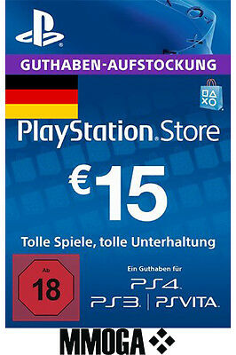 €15 EUR PlayStation Guthaben Key - 15 EURO PS4 PS3 PS Vita PSN Network Code - DE