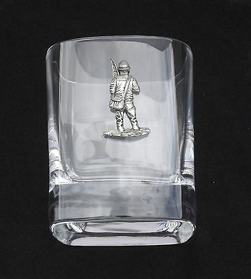 Fisherman Pair of Crystal Tumblers Pewter Motift Presentation Box Fishing Gift