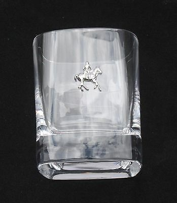 Polo Pair of Crystal Tumblers Pewter Motift Presentation Box