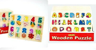 Alphabet Wooden Letters Jigsaw Learning Educational Puzzle Children Kids Toys