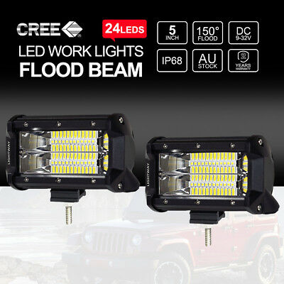Pair 5 inch 240W CREE Flood LED Work Light Bar Off Road 4x4 Driving Fog Lamp