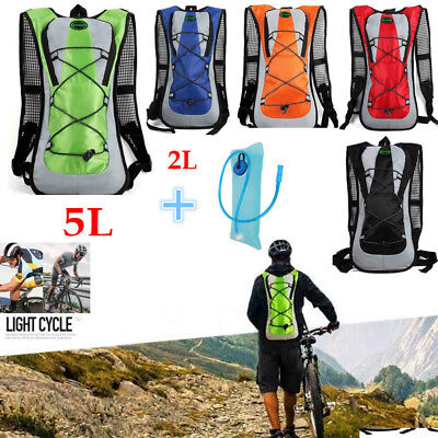 5L Bladder Cycling Backpack+2L Water Bag Hiking Pouch Climb Hydration Pack Sport