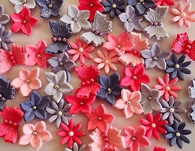 Flowers & butterflies CUPCAKE TOPPERS edible FONDANT cake BIRTHDAY baby shower