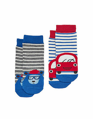 Joules Baby Boys Two Pack Character Socks - Car