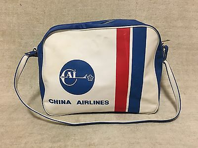 Vintage 1960's China Airlines Carry On Travel Flight Hand Bag Rare Tote Duffel