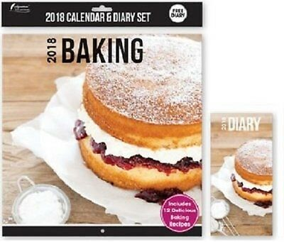 2018 Calendar & Diary Set Baking 12 delicious recipes free diary