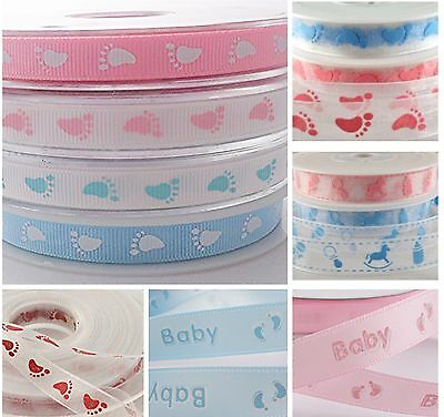 4 Metres Baby feet ribbon satin grosgrain organza Baby Shower gift wrap cards