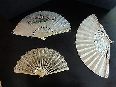 3 Vintage Silk Hand Fans, Mother Of Pearl, Carved Frame Peacock Picture Etc