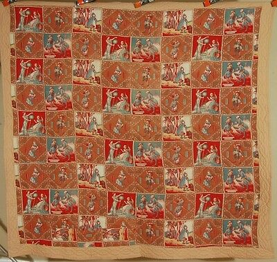 WONDERFUL Vintage Nursery Rhyme Antique Quilt ~19th Century Cheater Cloth Fabric