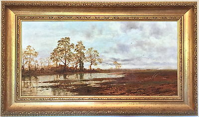 Farmhouse in Flooded Landscape Antique Oil Painting by Robert Gallon (1845–1925)