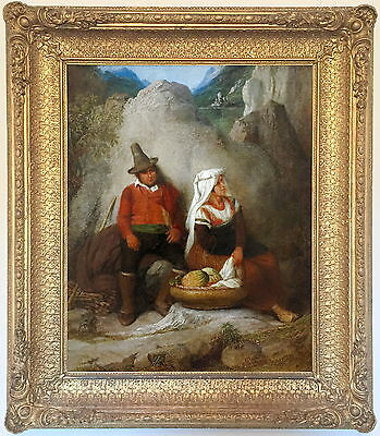Italian Peasants Antique Oil Painting by Edward Villiers Rippingille (1790–1859)