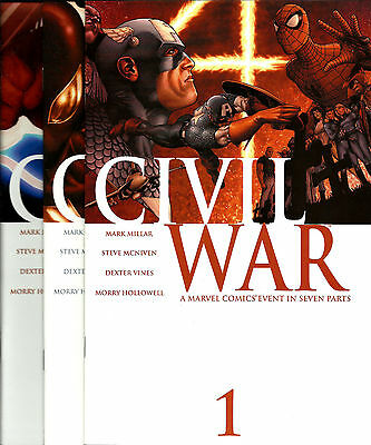 CIVIL WAR #1,2,3,4,5,6,7 Marvel Comics AVENGERS X-MEN COMPLETE SET LOT RUN NM!