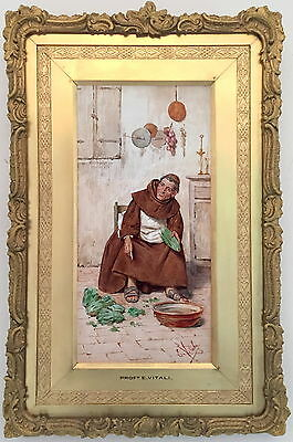 Monk Antique Genre Watercolour Painting by Eduard Vitali (Italian, 19th Century)