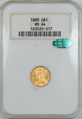 1889 $1 Gold Ty 3 Ngc Ms-64 Cac Approved, Another Coin From The Reeded Edge!