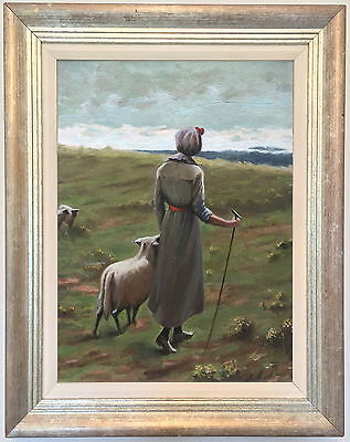 The Shepherdess Oil Painting by Judy Powell (British, 20th/21st Century)