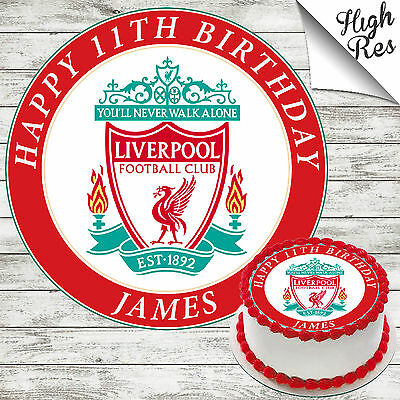 Liverpool Football Club Round Birthday Cake Topper Decoration Personalised