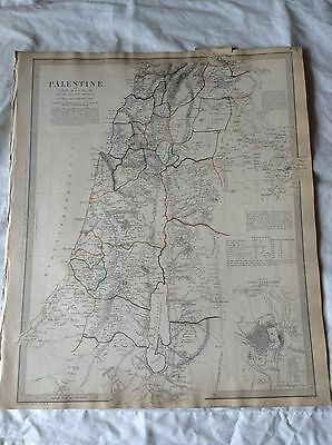 Map of Palestine with the hauran,1843,hand coloured,pub by chapman& hall
