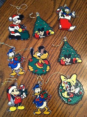 Vintage Lot of 9 Walt Disney World Plastic Stained Glass Christmas Ornaments