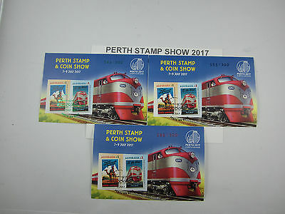 2017 PERTH STAMP & COIN SHOW Trans-Aust Railway set of 3 Imperf Mini Sheets BUY!