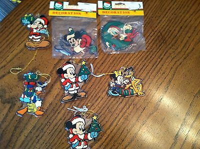 Vintage Lot of 7  Walt Disney World Plastic Stained Glass Christmas Ornaments
