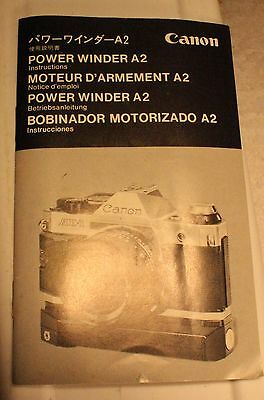 Canon Power Winder A2 Manual Instructions