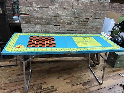 Vintage 1960s ALL-LUMINUM Steeplechase Metal Folding Game Table Casino 24x60