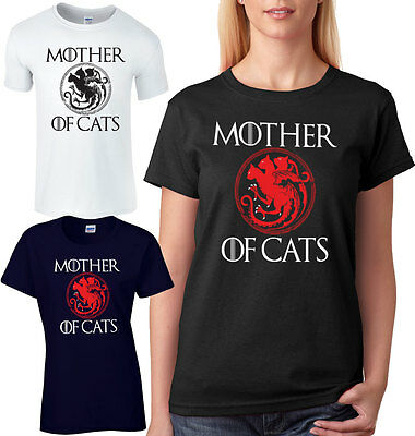 Mother Of Cats Ladies T-Shirt Unisex Loose Fit Game Of Thrones Parody Comedy Tee
