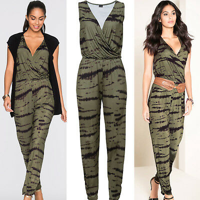 UK Womens Sleeveless Holiday Mini Playsuit Ladies Romper Long Jumpsuit Trousers