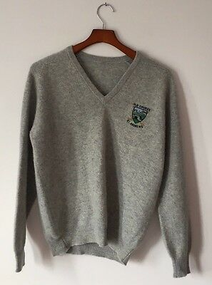 Cashmere Sweater Size M Gray V Neck Solid Old Cours St.Andrews N
