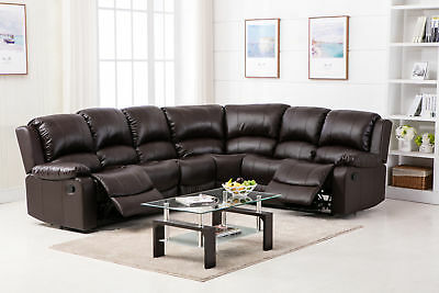 New Valencia Bonded Leather Recliner Corner Suite - Brown