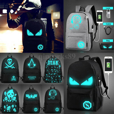 2017 Fashion Backpack Luminous Casual School Travel Bags with USB Charging Port
