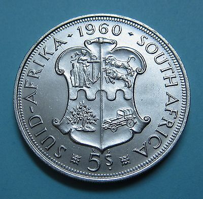 1960 Silver Crown Size Coin 5 Shillings 50th Anniversary South African Union B/U