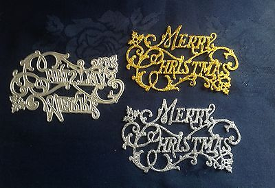 HOLLY MERRY CHRISTMAS (Upper Script) TEXT Metal Die