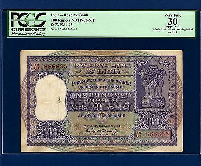 {RARE} ~ Rs. 100 MATCHING PREFIX WITH FANCY SERIAL NUMBER INDIA ~ { PCGS 25 }