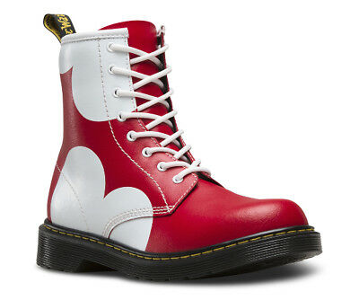 NEW Women DR. MARTENS RED YOUTH DELANEY HEART YOUTH DELANEY HEART YOUTH LACE BOO