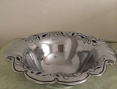 "Large Lenox Pewter Salad Serving Olive Branch Pattern 15"" Wide Polished Bowl"