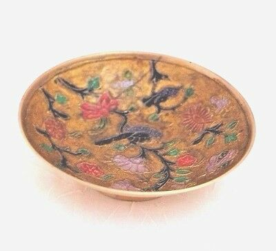 Collectible Hand Painted Solid Brass and Enameled Small Bowl, India  12/6*100