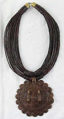 Afrika BENIN Bronze Anhänger Lederkette Stammeskunst Tribal Art africa necklace