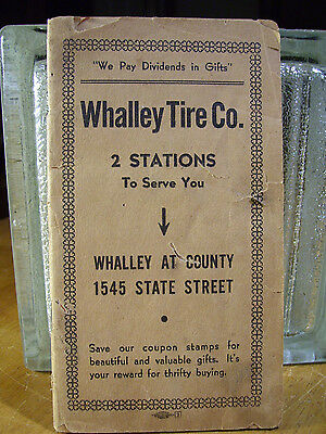 Vintage Whalley Tire Co. New haven CT Coupon Stamp Book Rewards With Some Stamps