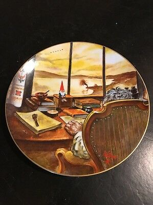 """Legends of the Gnomes Rien Poortvliet Porcelain Plate """"LITTLE COUNSELOR"""" 8 1/2"""""""