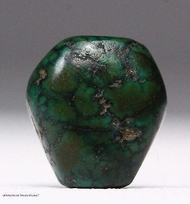 16) Ancient Pre Columbian Chimu or Moche Greenstone Mosaic Turquoise Bead