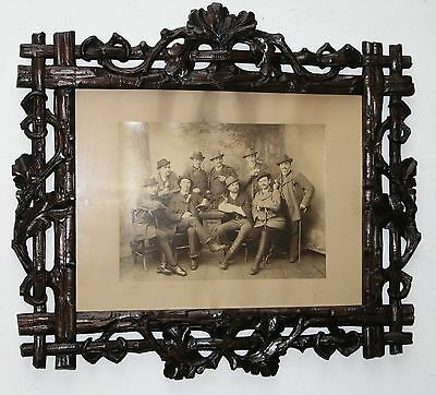 Ant. Black Forest Lrg.wood Photoframe From The Royal Residence Fischbachau