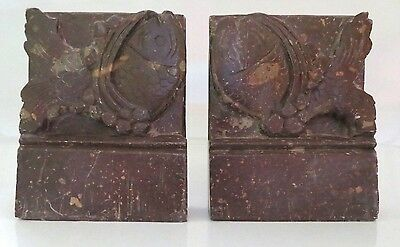 Pair Vintage Antique Asian Chinese Hand Carved Soapstone Book Ends, Koi Fish