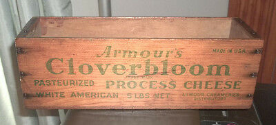 OLD WOODEN PROCESS CHEESE BOX - ARMOUR'S CLOVERBLOOM CREAMERIES American Wood