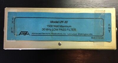 Vintage AEA Model LPF-30 1500 Watt Maximum 30MHz Low Pass Filter - Untested