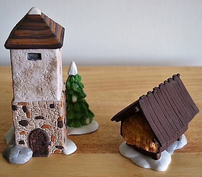 """Dept. 56 Heritage Village Collection 1987 """"Silo and Hay Shed"""" Set of 2 ~ #5950-1"""