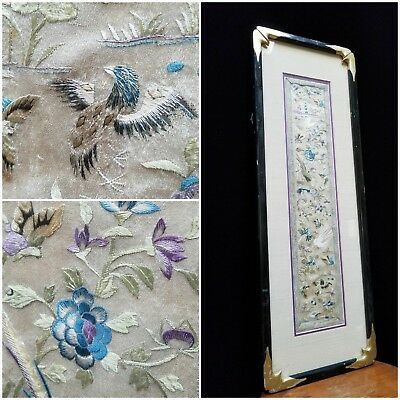 "Antique Chinese Embroidery Vintage Framed Forbidden Stitch Silk 27x10"" Frame"